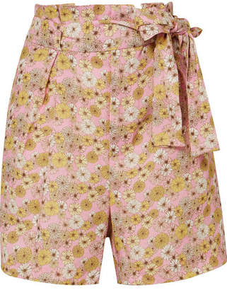 Lisa Marie Fernandez Floral-print Linen Shorts - Pink