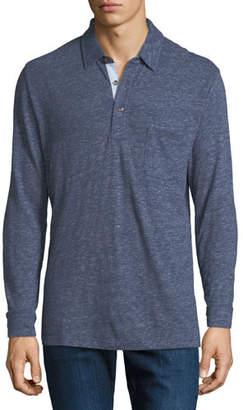Faherty Men's Luxe Heather Long-Sleeve Polo Shirt, Navy