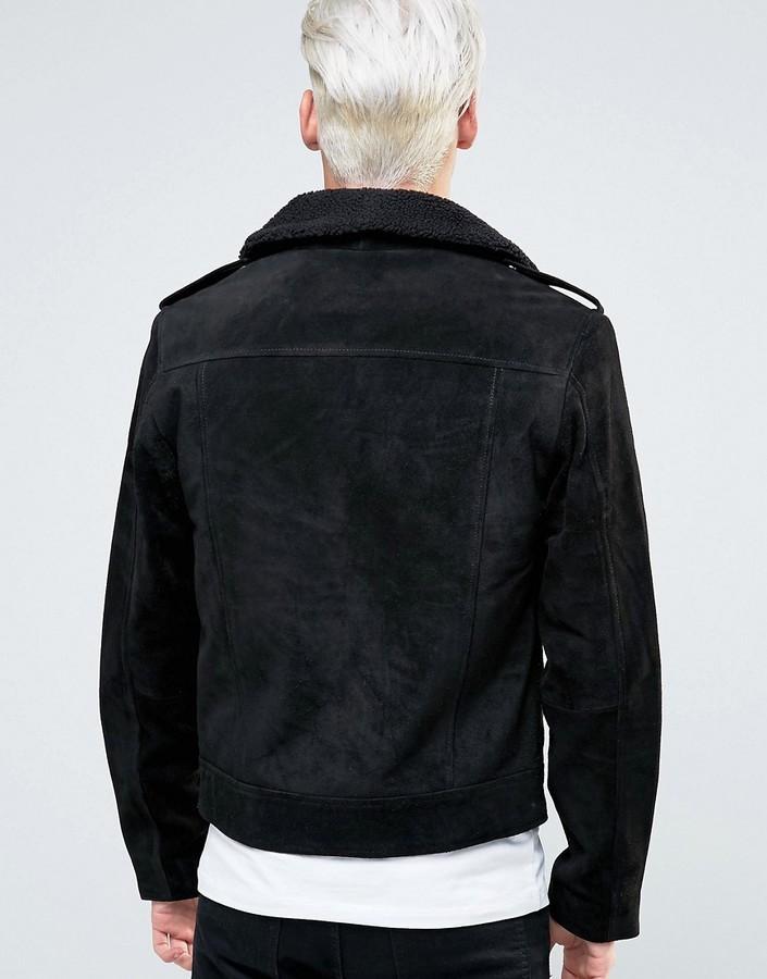 Black Dust Leather Biker Jacket With Fleece Collar 2