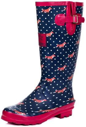 SPYLOVEBUY Adjustable Buckle Flat Welly Rain Boots Sz 9
