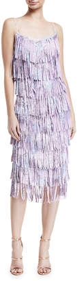 Chiara Boni Pippa Tiered Fringe Sleeveless Cocktail Dress