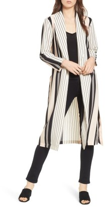 Women's Trouve Stripe Longline Jacket $79 thestylecure.com