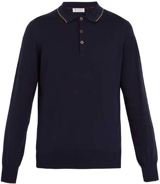 Brunello Cucinelli Long-sleeved cotton-piqué polo shirt
