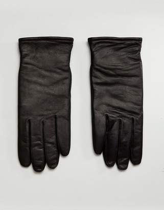 AllSaints Yield Leather Gloves In Black