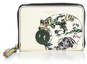 Tory Burch Peggy the Pig Zip-Around Leather Coin Case