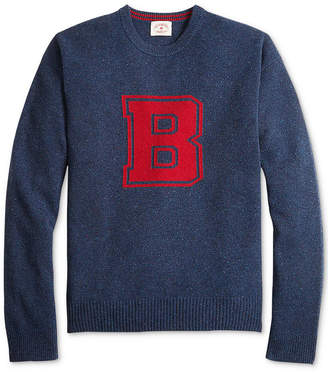 Brooks Brothers Men Red Fleece Collegiate Intarsia-Knit Donegal Wool Sweater
