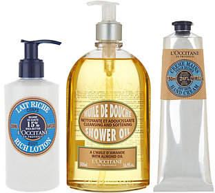 L'Occitane Almond Shower Gel, Shea Hand Cream& Body Lotion