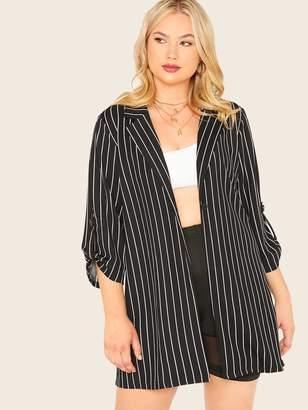 Shein Plus Notch Collar Roll Up Sleeve Striped Blazer Without Belt