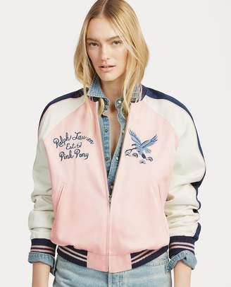 Ralph Lauren Pink Pony Satin Bomber Jacket