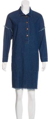 Raquel Allegra Frayed Chambray Dress