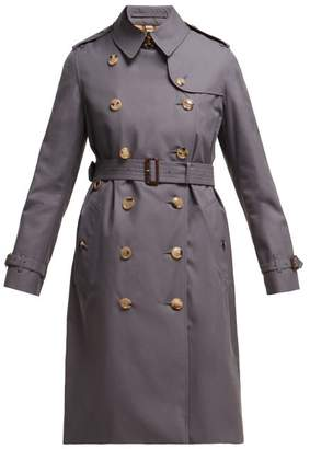 Burberry Kensington Long Cotton Gabardine Trench Coat - Womens - Grey
