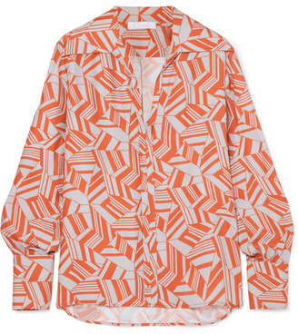 Chloé Printed Silk Crepe De Chine Blouse - Orange
