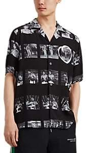 Marcelo Burlon County of Milan Men's Muhammad Ali Photo Plain-Weave Button-Front Shirt - Black