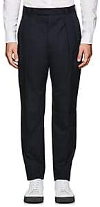Officine Generale MEN'S COTTON PLEATED TROUSERS-NAVY SIZE 40