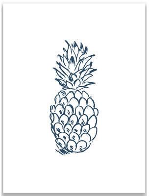 Jetty Home Navy Blue Pineapple Wall Art Print