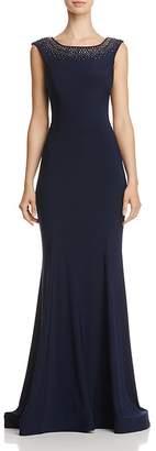 Aqua Embellished Ruffle-Back Gown - 100% Exclusive