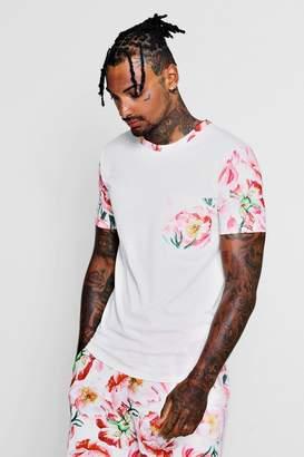 boohoo Floral Sleeve Print Muscle Fit Top