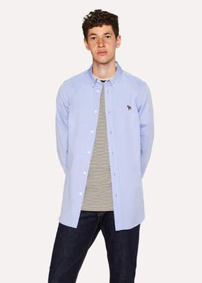 Paul Smith Men's Tailored-Fit Sky Blue Cotton Shirt With Zebra Motif