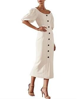 Shona Joy Gaia Off The Shoulder Fitted Midi Dress