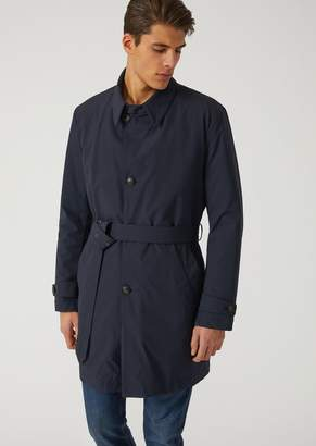 Emporio Armani Waterproof Stretch Technical Fabric Trench Coat