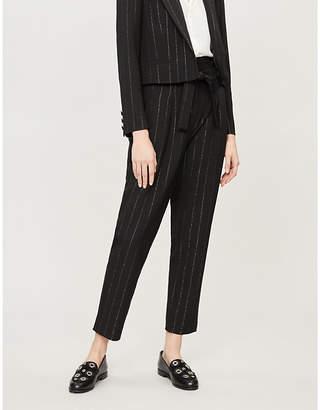 Claudie Pierlot Popular metallic-pinstriped high-rise twill trousers