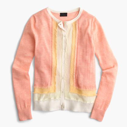 J.CrewItalian featherweight cashmere fringe cardigan sweater