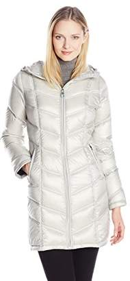 Calvin Klein Women's Mid Length Packable Chevron Down Coat, Metallic Mulberry