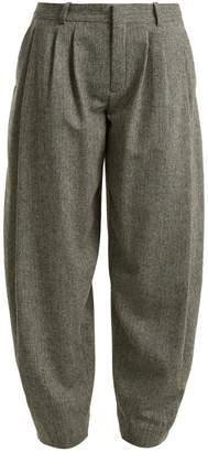 Chloé Wide tapered-leg wool-blend herringbone trousers