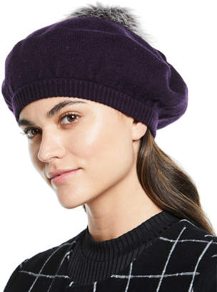 Neiman Marcus Cashmere Jersey Beret with Fox Fur Pompom