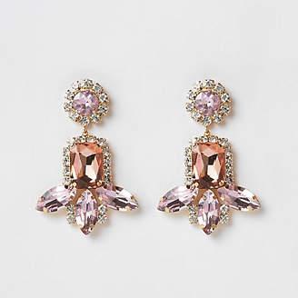 River Island Pink gold tone jewel tiered drop earrings