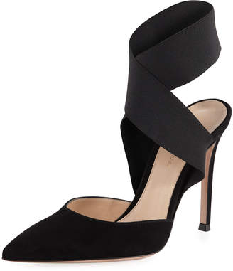 Gianvito Rossi Suede Pumps with Crisscross Elastic Strap
