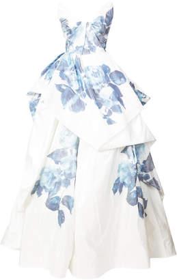 Monique Lhuillier layered floral print evening dress
