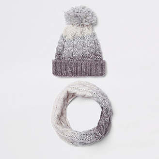 River Island Kids grey ombre knit hat and snood set
