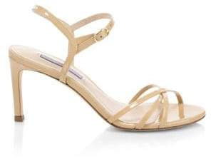Stuart Weitzman Starla Mid-Heel Leather Sandals