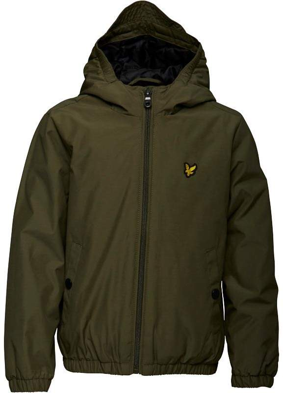 Junior Boys Zip Through Hooded Jacket Olive Tree