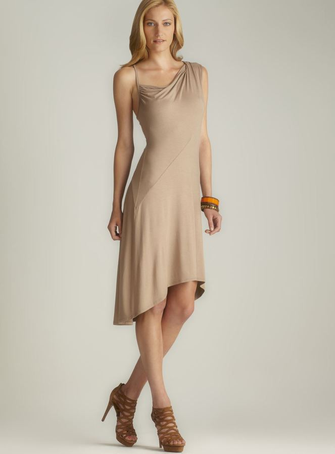 DKNY Asymmetric Draped Shoulder Hi-Lo Dress
