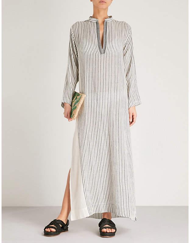 SU PARIS Kika striped cotton-voile kaftan