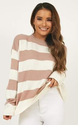Showpo Walk To Remember knit top in mauve stripe