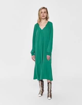 Tibi Savana Split Neck Ruffle Dress