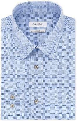Calvin Klein Men Steel Classic/Regular Fit Non-Iron Performance Stretch Check Dress Shirt
