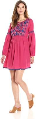 Ella Moon Women's Roberta 3/4 Sleeve Front Panel Embroidered A-Line Dress