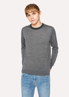 Paul Smith Men's Grey Marl Merino-Wool Sweater With Contrast Collar
