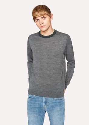 Paul Smith Men's Grey Marl Merino-Wool Sweater With Contrast Collar