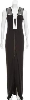 Yigal Azrouel Leather-Trimmed Crepe Dress
