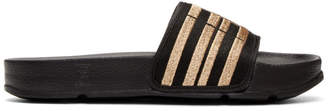 Baja East Black and Gold Fila Edition Drifter Slides