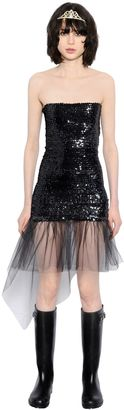 Sequined Dress With Tulle Ruffle