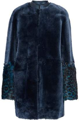 Elie Tahari Linda Reversible Goat Hair-Paneled Shearling Coat