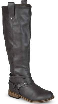 Brinley Co. Women's Extra Wide-Calf Ankle Strap Knee-High Riding Boots