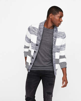 Express Mix Stripe Shawl Collar Cardigan