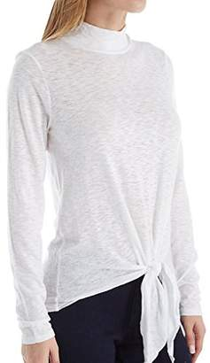 Three Dots Women's VJ2694 Eco Knit Mock Tee with Tie Front